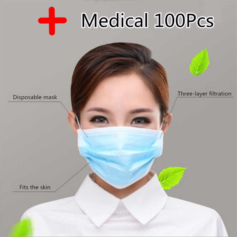 Profession Medical Mask 100Pcs/Pack Medical Surgical 3-Ply PM2.5 N95 Nonwoven Disposable Elastic Mouth Soft Breathable Wholesale