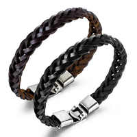 Vintage Men's Leather Bracelet Trendy Male Bracelets Hip Hop Punk Woven Rope Hand Jewelry Bangles Boyfriends Accessories Gifts