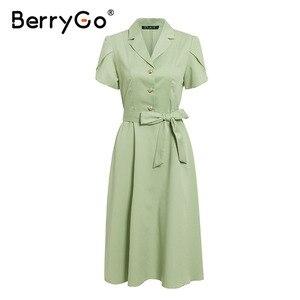 Image 5 - BerryGo Elegante dellincrespatura delle donne del vestito verde cintura a vita Alta OL midi del vestito femminile abiti casual manica corta ufficio del vestito delle signore