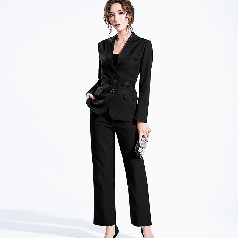 Women's suit 2019 autumn new casual fashion temperament slim slimming solid color single-breasted small suit trousers two-piece 28