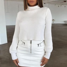 Nadafair White Winter Women Sweater 2019 Black Turtleneck For Long Sleeve Jumper Pullover Woman Ladies