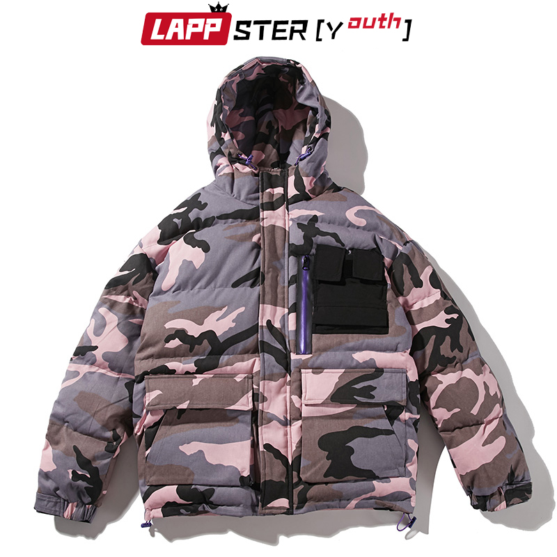 LAPPSTER-Youth Men Camouflage Winter Jacket 2019 Mens Thick Streetwear Bubble Coat Hip Hop Korean Embroidery Windbreaker Jackets