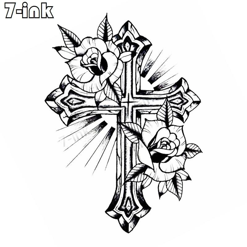 Sementara Tato Stiker Body Art Cross Bunga Mawar Bahasa Inggris Huruf Air Transfer Palsu Tattoo Tattoo Untuk Pria Dan Wanita In Sementara Tato From Kesehatan Kecantikan On Aliexpress