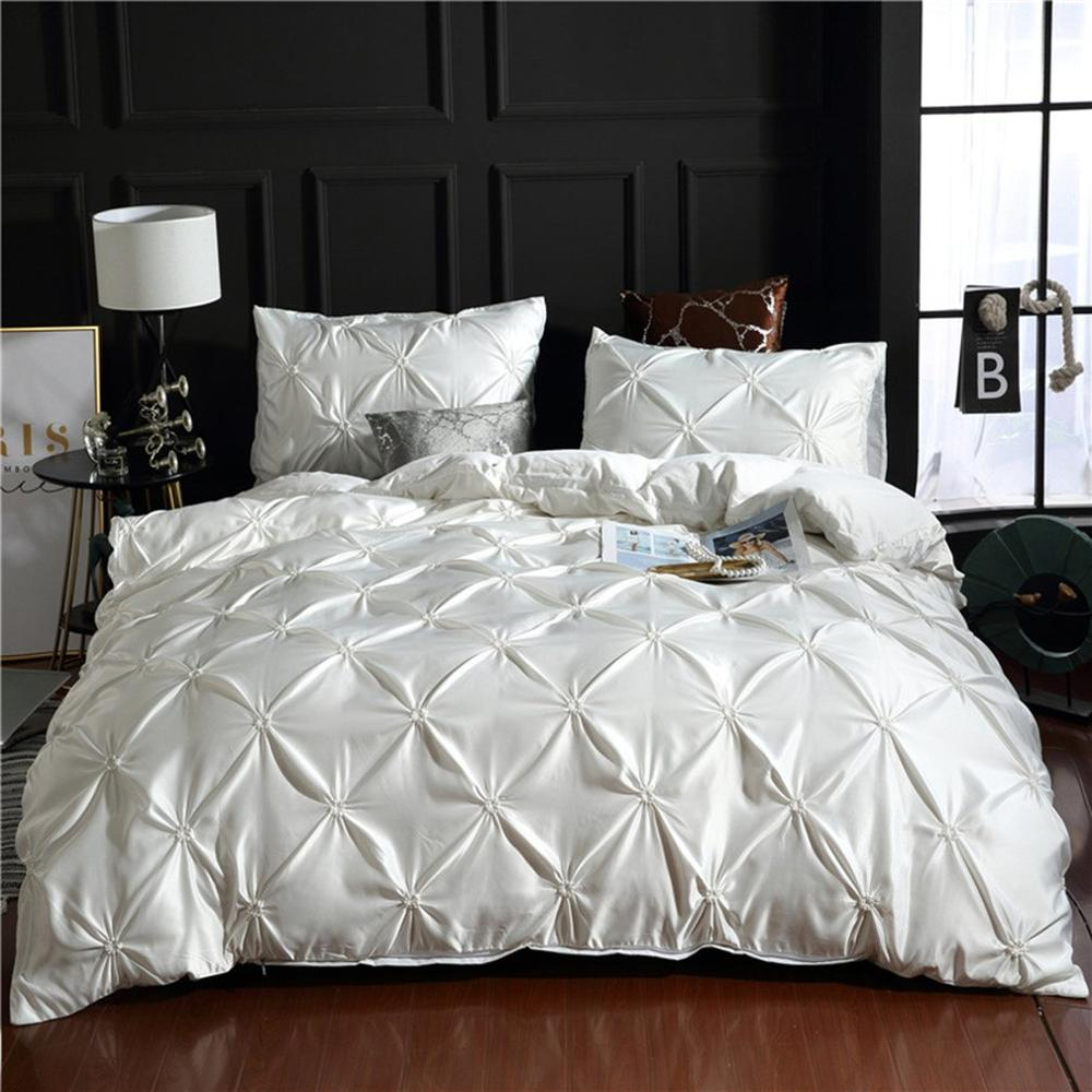 Bedding Set Simple European Bedding Pulling Flowers Solid Color Quilt Cover Three Piece Suit For Home Or Hotel|Bedspread| |  - title=