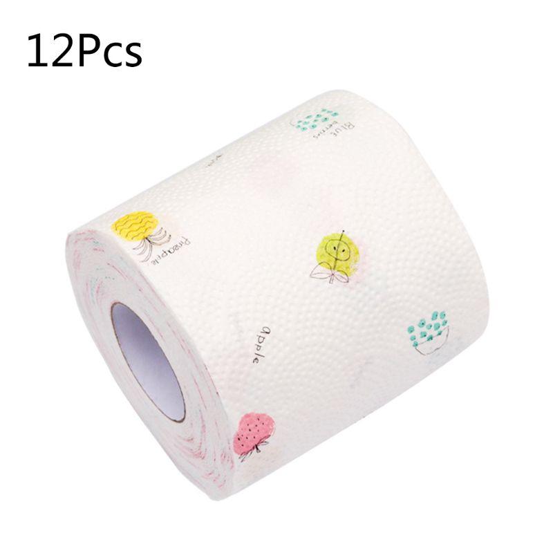 12pcs Cartoon Fruit Printed Home Bath Toilet Roll Paper Wood Pulp 3 Layers Tissu