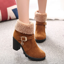 women winter boots round toe thick high heels flock flaux fur warm adult mujer zapatos 2 style fitting ways fashion women boots цена 2017