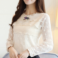 White Lace Blouse 2019 Autumn layered Hollow Out Flower Shirt Women Tops O Neck beading Long Sleeve Blusas Women Elegant 804i6 new spring autumn kids baby girl s lace flower pattern shirt tops long sleeve blouse pullover o neck white costumes