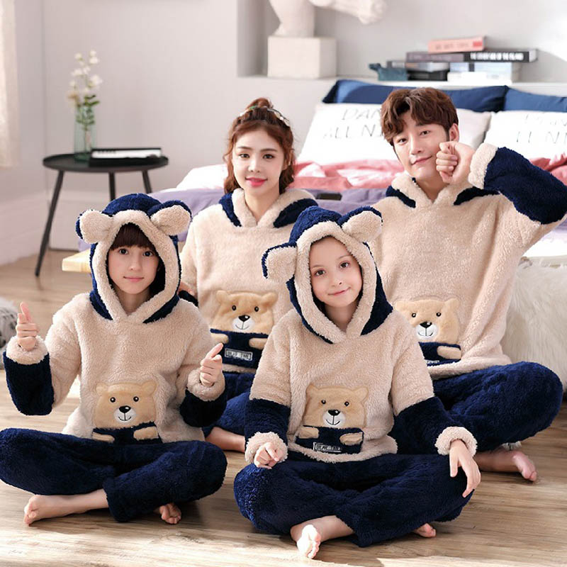New Unisex Adult Parent-child Pajamas Thickening Warm Winter Male Pajamas Set Hooded Female Sleepwear Cute Cartoon Home Service