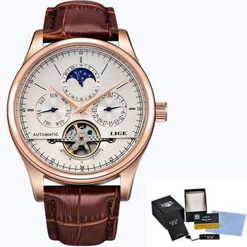 LIGE Brand Men Watches Automatic Mechanical Watch Tourbillon Sport Clock Leather Casual Business Retro Wristwatch Relojes Hombre 6
