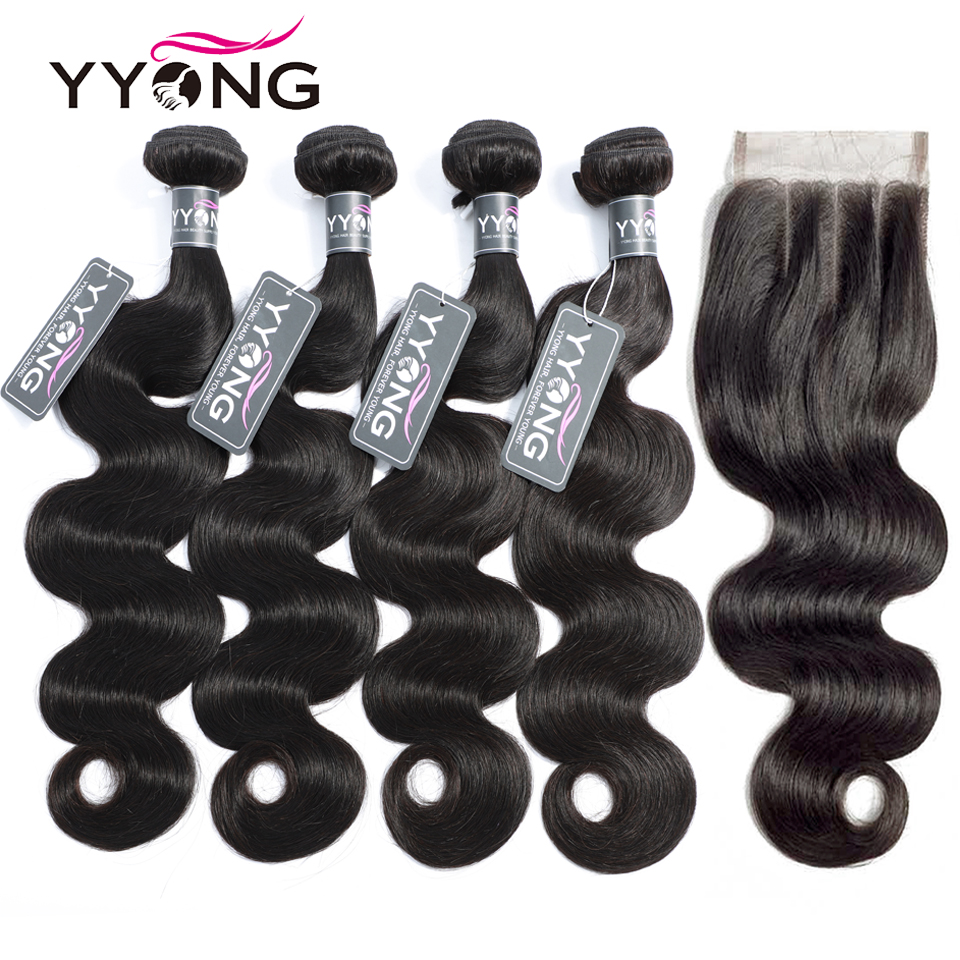 Yyong 3/ 4 pacotes de onda do corpo com fechamento cabelo brasileiro tecer pacotes com fechamento do laço 4x4 pacotes de cabelo humano remy com fechamento