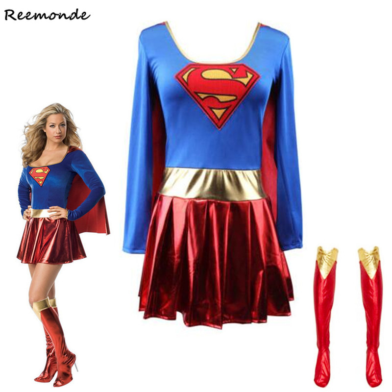 Superwoman Dress  Super Cosplay Costumes For Adult Girls Halloween Super Girl Suit Superhero Wonder Woman Super Hero Dress