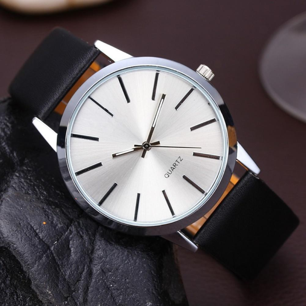 Faux Leather Adjustable Band Sports Watch Men Round Dial Analog Quartz Wrist Watch Christmas Gift Мужские часы Zegarek Meski