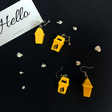 2019 korean hot Creative personality interesting Imitation trash can earrings drop earring trend funny fashion Resin