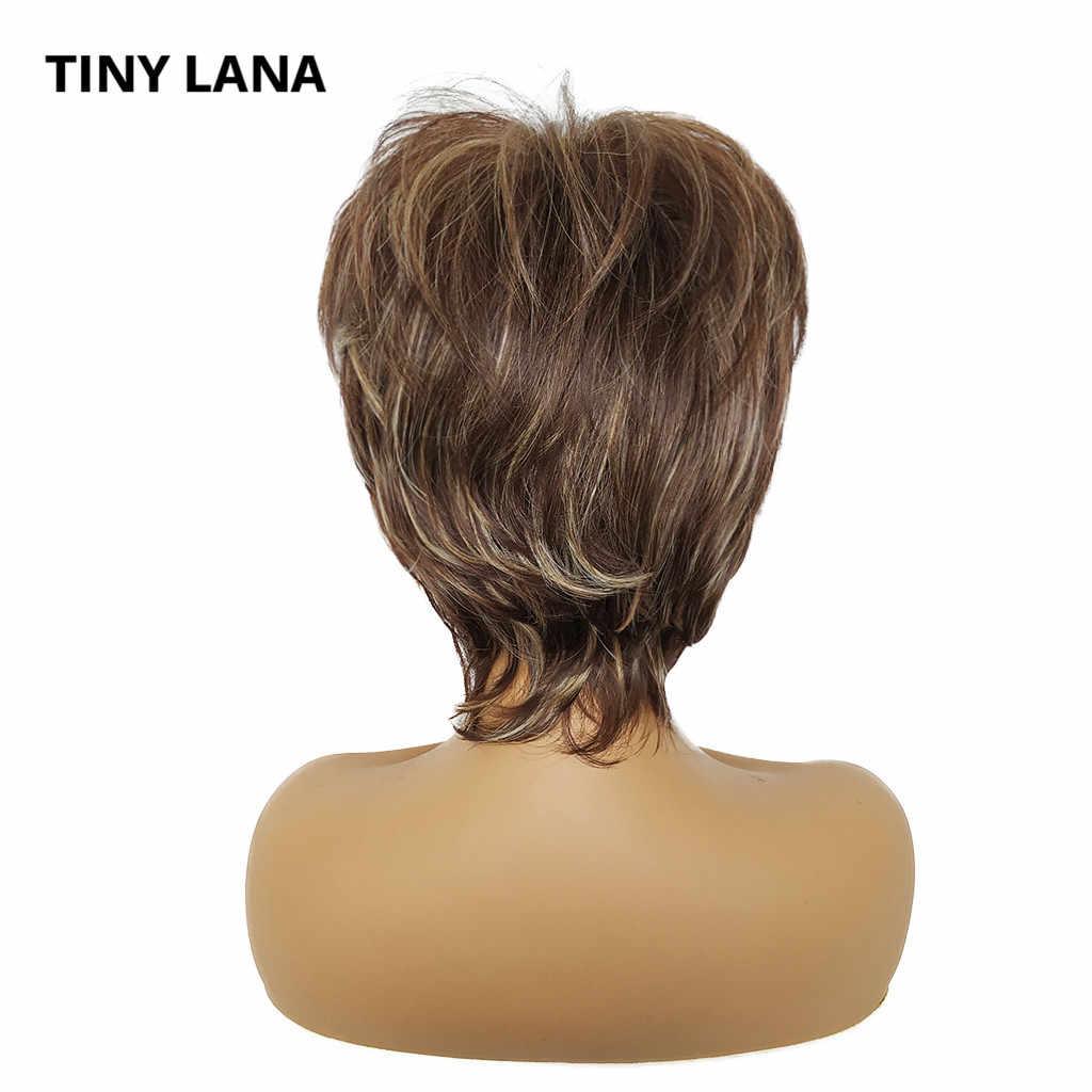Peruca de cabelo sintético resistente ao calor com franja pequena lana natural mix marrom ouro ombre curto perucas para preto