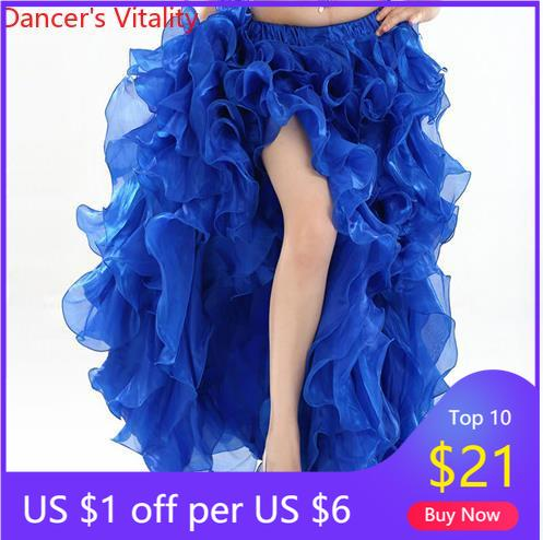 HOT SALE! senior yarn belly dance dress costumes  women latin shasha dance stage skirt for ladies belly dance Split skirts