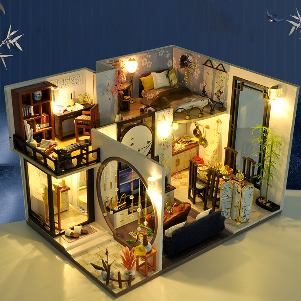 DIY Miniature Dollhouse Kit House With Furniture Sets Valentines Birthday Gifts Funny Plaything For Kids Jouets Pour Enfants#3