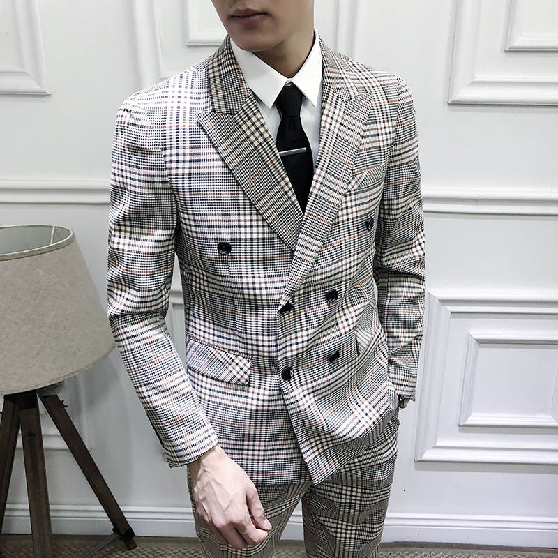Traje De Boda Mens Designers New Tuxedo Groom Dress Ternos Masculino Wedding Suits Men 2020 Grooms Suit Plaid Business