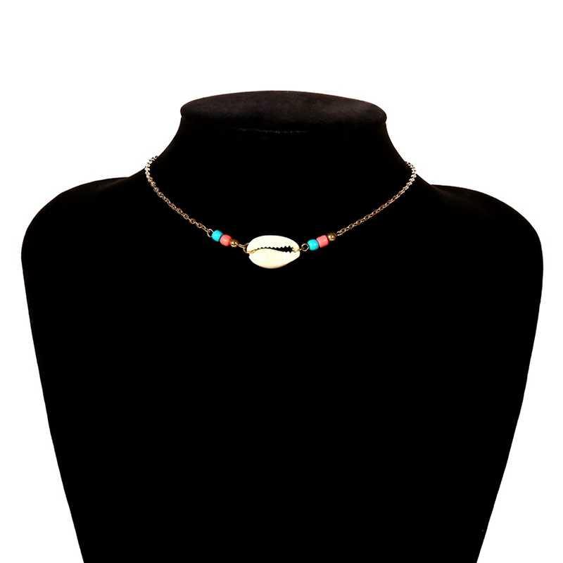 جديد البوهيمي مجوهرات بسيطة الفضة/الذهب سلسلة المنسوجة الأزرق اللون الخرز قذيفة الترقوة المختنق قلادة للنساء الشاطئ اكسسوارات