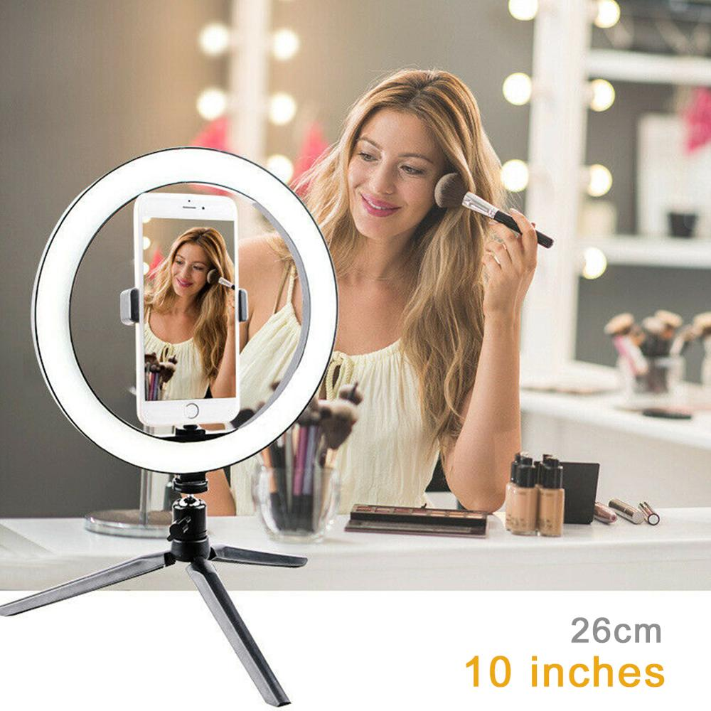 10 Inch Ring Light with Stand LED Camera Selfie Light Ring for Iphone Xiaomi Huawei Samsung phones Tripod and Phone Holder