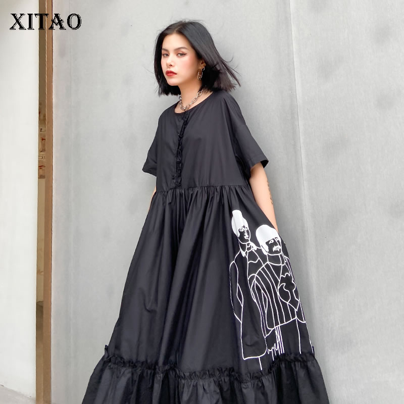 XITAO Summer New Dress Women Fashion Loose Plus Size Short Sleeve Minority Printing Dresses Trend Wild A-line Vestidos XJ4922(China)