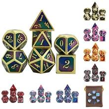 DND Würfel Set 7 PCS-Lila Blau Grün Metall Polyhedral mit Würfel Tasche für RPG Gaming Enthält D20