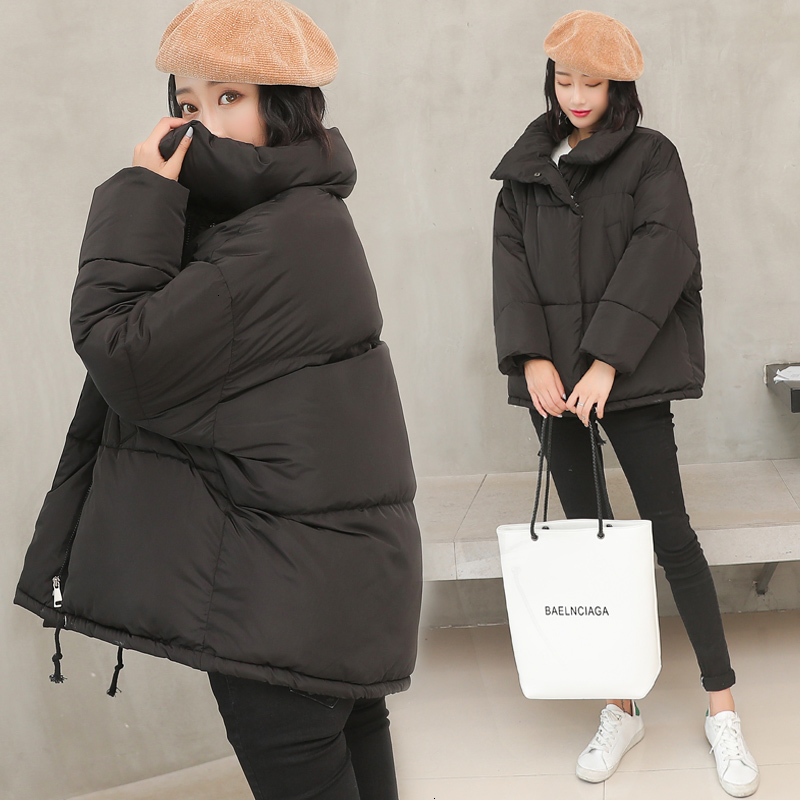 Winter Loose Coat Down Cotton Oversize Cotton-padded Jacket Tide Ins Bread Serve Woman Short Fund Thick And Disorderly Student
