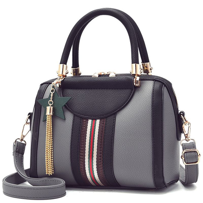 Leisure Women's Handbag 2020 New Stripe Boston Crossbody Bag Tote Bag Wallet Luxury Shoulder Bag Pillow Patchwork Lady Bags