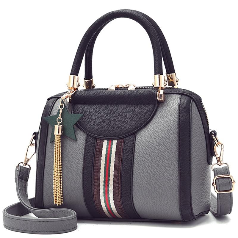 Leisure Women's Handbag 2020 New Stripe Boston Crossbody Bag Tote Bag Wallet Luxury Shoulder Bag Pillow Patchwork Lady Bags