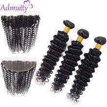 Admutty – tissage en lot indien naturel Non Remy, Deep Wave, avec Lace Frontal 13*4, Extensions de cheveux avec Closure