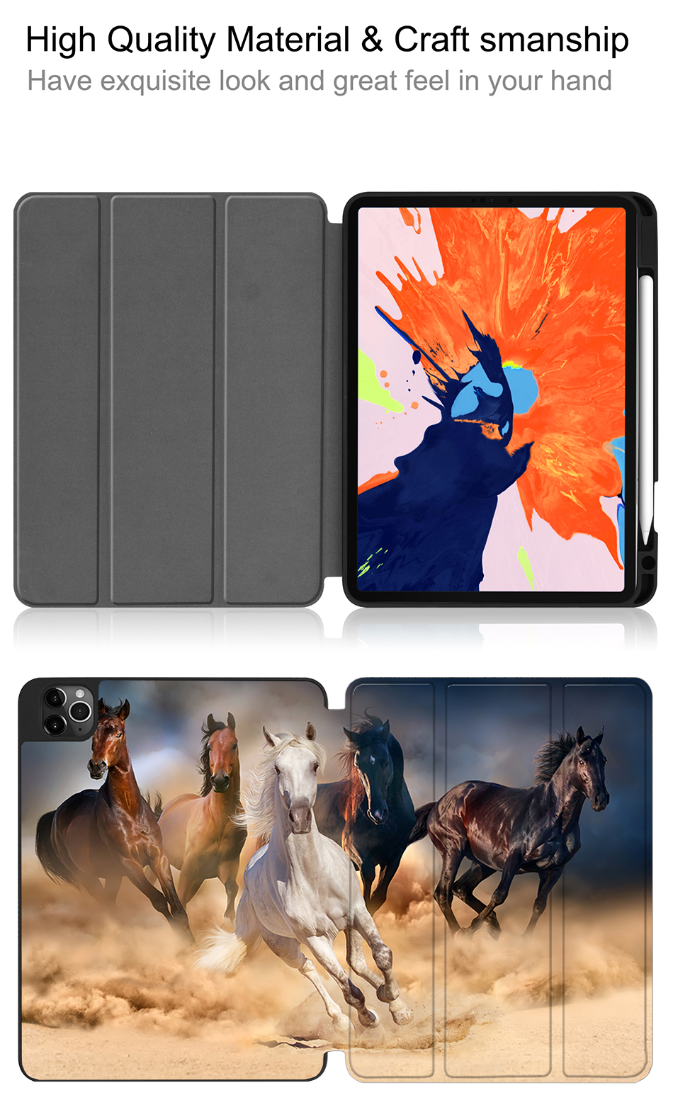 A2233 Case Soft iPad Leather Tablet TPU inch Back+PU 12.9 MTT 2020 Pro For A2229 New