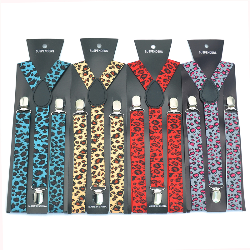 Unisex Adjustable Clip-on Braces Elastic Slim 25mm Wide Suspenders For Men 8 Colors Leopard Black Y-back Men`s Suspender Gallus