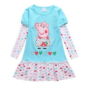 Peppa Pig/Детская осенняя юбка принцессы с длинными и короткими рукавами для маленьких девочек Весенняя хлопковая кружевная юбка для маленьких...