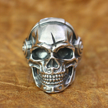 LINSION 925 Sterling Silver Music DJ Skull Ring Mens Biker Rock Punk Ring TA178 US Size 7~15