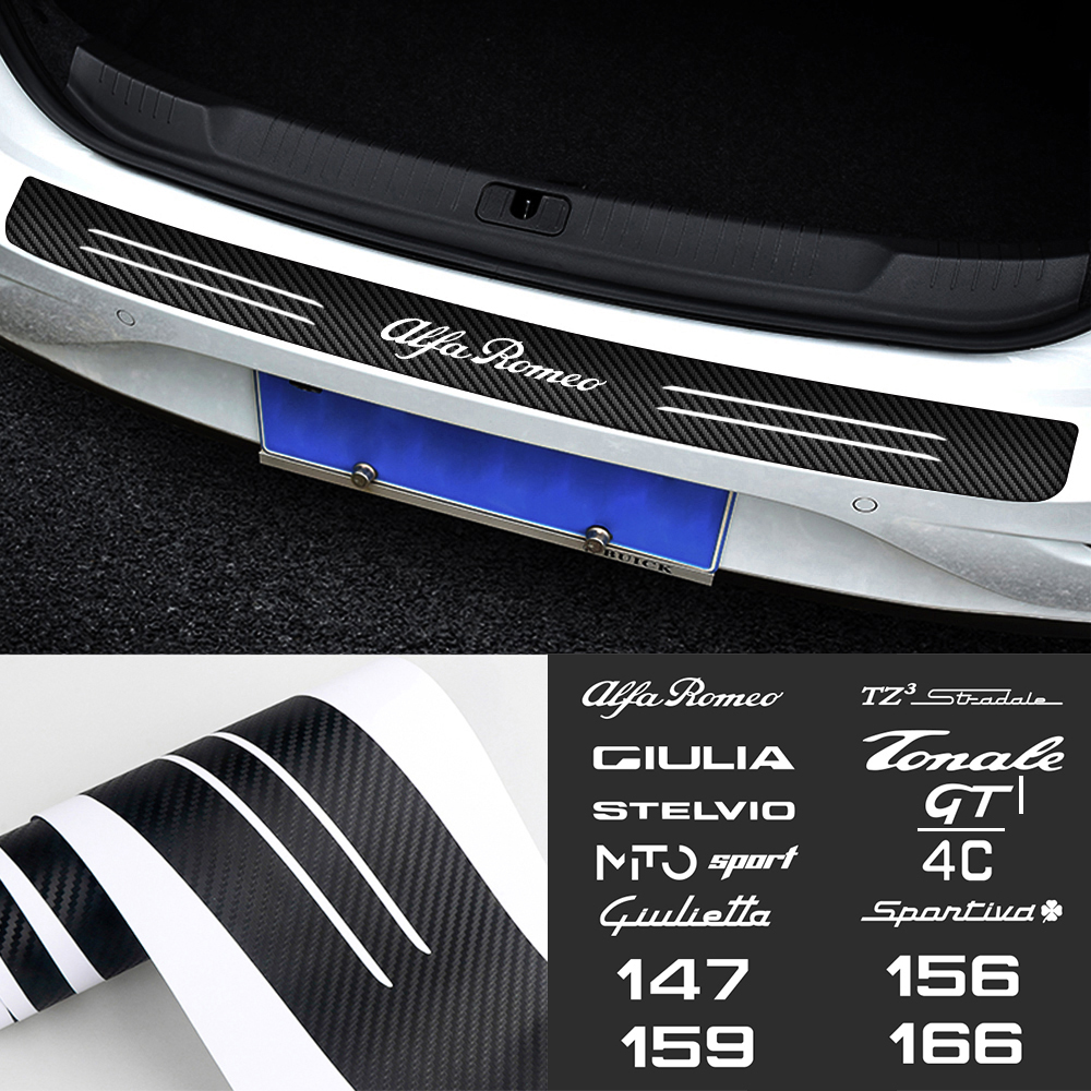 Pegatina para maletero de coche de fibra de carbono 3D, para Alfa Romeo 147 156 159 166 Giulietta Giulia Mito Stelvio Sportiva TZ3 GT 4C Tonale