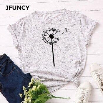 JFUNCY 2020 Summer Cotton T-Shirt Women T Shirt New Dandelion Print Graphic Tee Female Tshirt Plus Size Short Sleeve Woman Tops plus raglan sleeve graphic tee