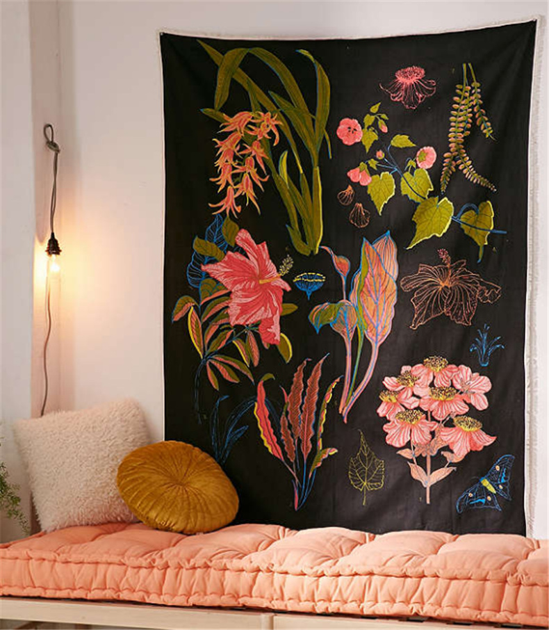 Indian Wall Hanging Tapestry Retro Nation Flower Wall Hanging Tapestries Bohemian Plant Print Yoga Mat For Traval Camping