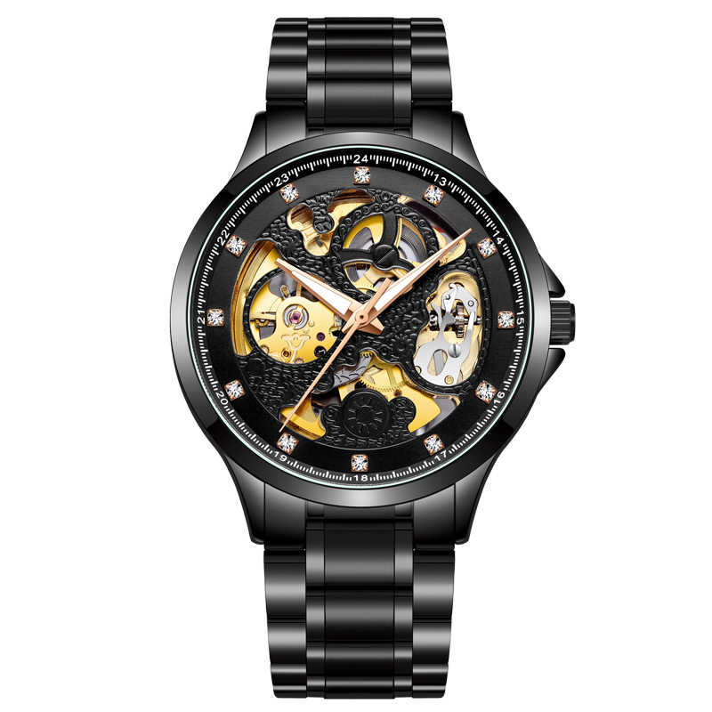 2020 yeni İzle erkekler lüks marka Guanqin otomatik mekanik saat erkekler içi boş izle su geçirmez tüm çelik erkek saati