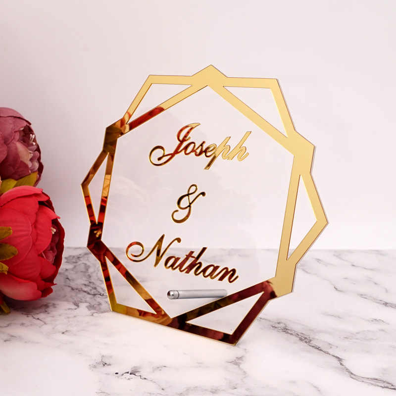 Mesa acrílica de hexágono, moldura de espelho personalizada, nome de casamento, decoração de festa, com palavra de pé