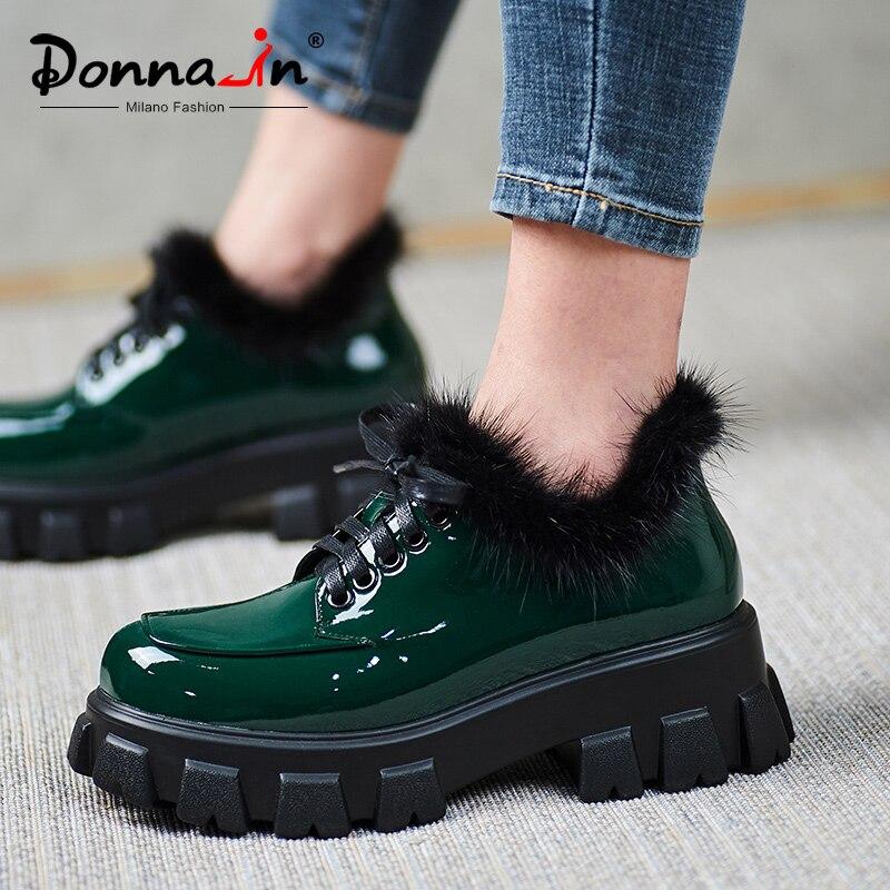 Donna-in plate-forme épaisse plat femmes chaussure naturel vison cheveux hiver en cuir verni à lacets loisirs décontracté dames chaussures vert noir