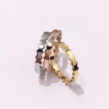 High Quality Honeycomb Geometric Smooth Titanium Steel Ring For Women Fashion Jewelry Best Gift