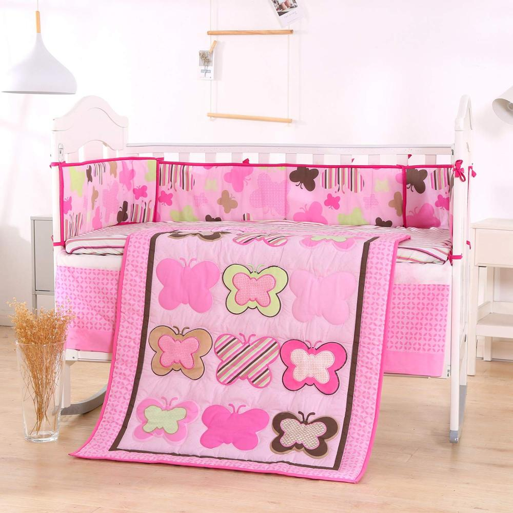7pcs Embroidery Kit Berço Crib Baby Bedding Set For Girl Newborn Baby Bed Linens (4bumpers+duvet+bed Cover+bed Skirt)