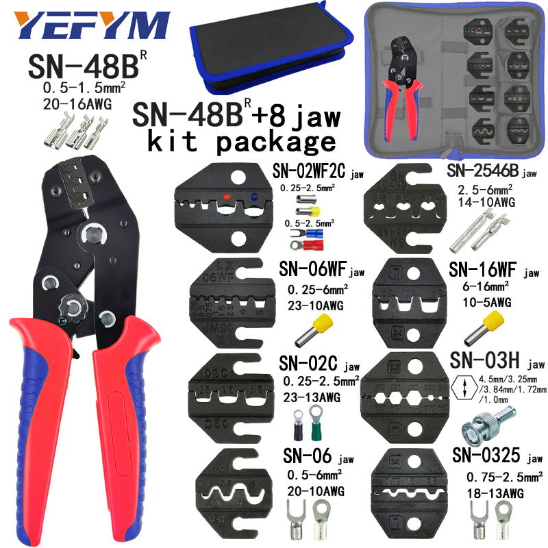Crimping Pliers SN-48B 8 Jaw Kit Package For 2.8 4.8 6.3 VH2.54 3.96 2510/tube/insuated Terminals Electrical Clamp Tools Mini