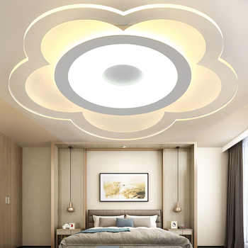 Modern Flower Ceiling Lights LED Ceiling Light Ultra-thin For Living Room Lamp Bedroom Panel Surface Mount Remote Control