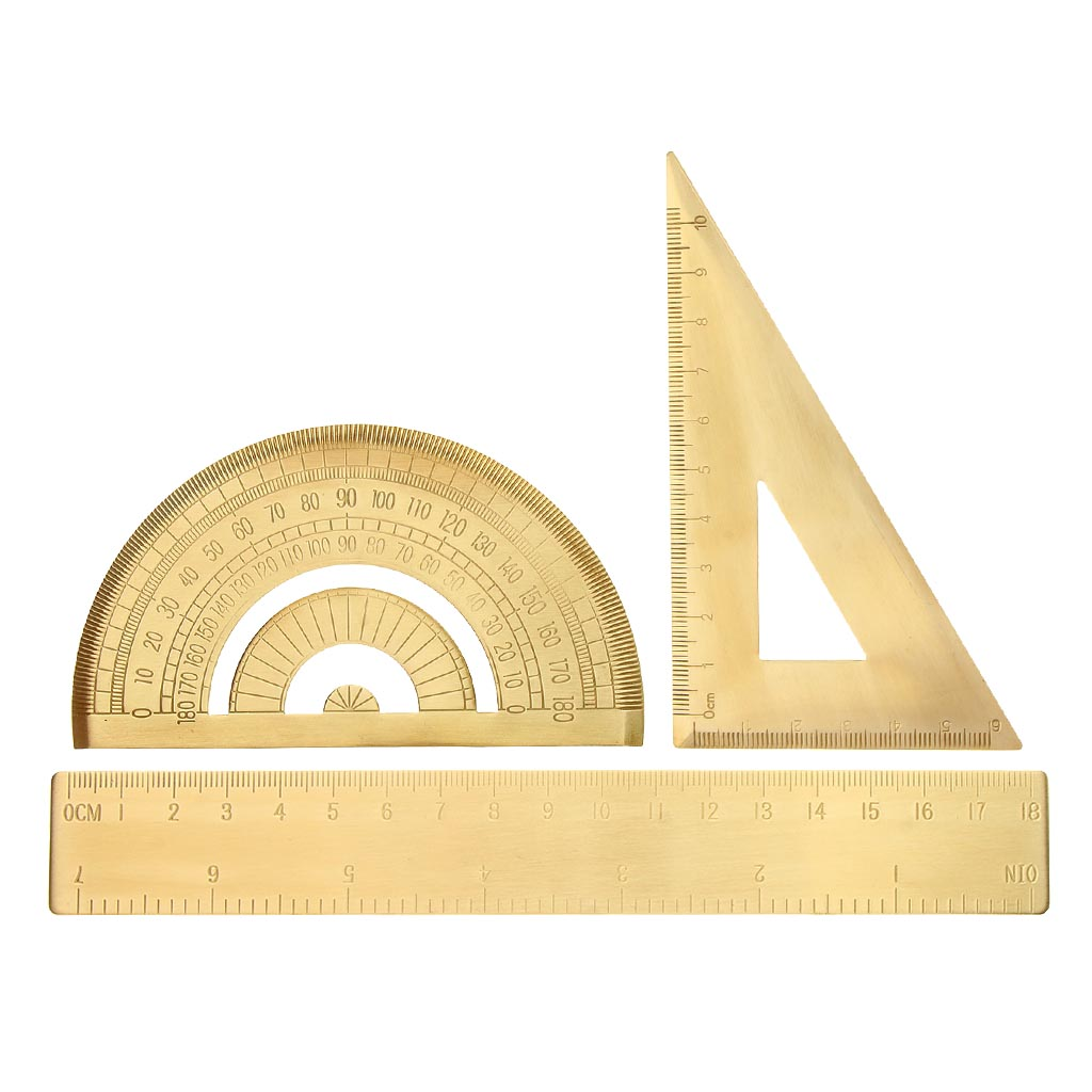 Solid Brass Metal Jewelry Design Math Geometry School Ruler Triangle Protractor Measuring Tools