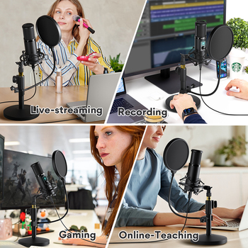MAONO AU-PM421T USB Microphone Professional Condenser Studio Live Streaming Mic for PC Laptop With One-Touch Mute and Gain Knob 2