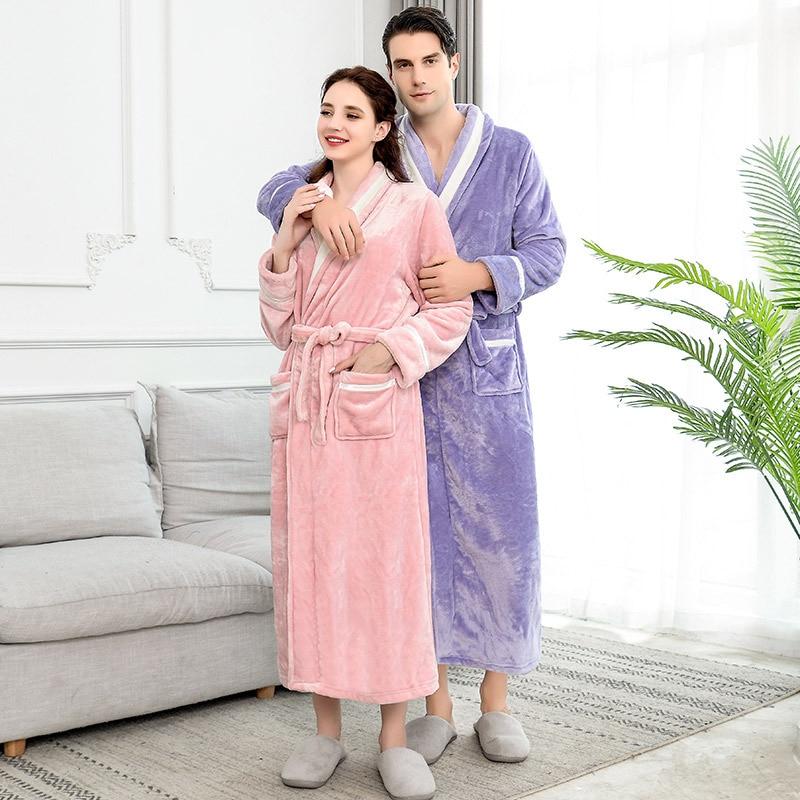Lovers Winter Long Flannel Coral Fleece Warm Solid Bathrobe Women Men Kimono Bath Robe Bridesmaid Sexy Dressing Gown