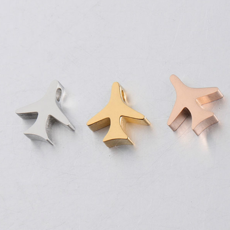 charms for jewelry making Mirror Polishe Stainless Steel 1.8mm Hole Airplane Beads Charms DIY Jewelry Accessories10*10mm 10pcs image