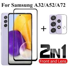 Szkło hartowane 2w1 do Samsung Galaxy A32 5G A52 A72 folia ochronna do obiektywu A72 A52 5G A 32 A 22 szkło ochronne tanie tanio ALANGDUO Przezroczysty TEMPERED GLASS Folia hartowana CN (pochodzenie) Anti-scratch Anti-water Anti-fingerprint Full Cover Tempered Glass Film Protective Glass