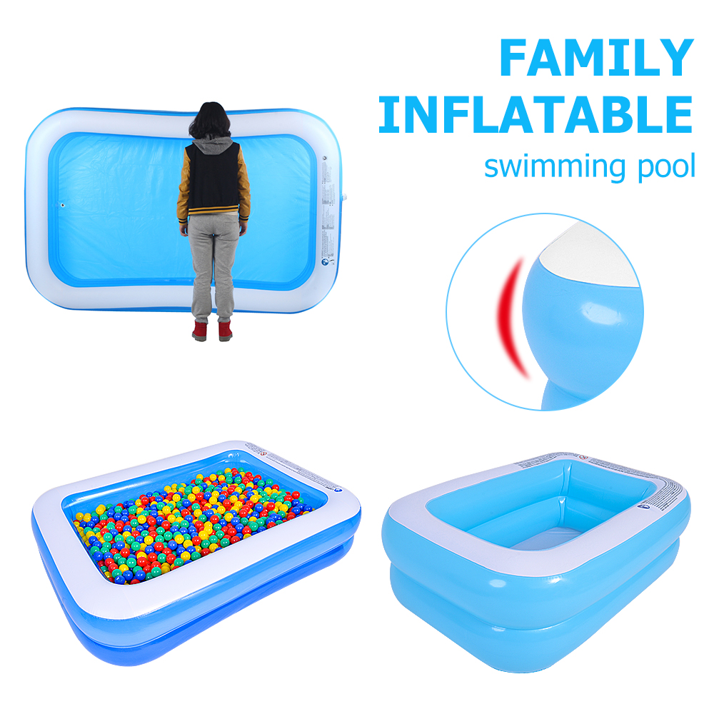 1.1m/1.28m/1.55m Baby Inflatable Square Swimming Pool Home Large Size PVC Float Paddling Pool Accessories Summer Water Play Tool