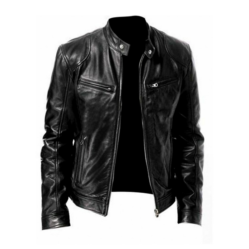 2019 Autumn New Fashion Moto Jacket Men Solid Stand Collar Veste Homme Pockets Zipper Casaco Masculino Casual Slim Vintage Coats